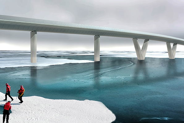 bridge over blue water and ice