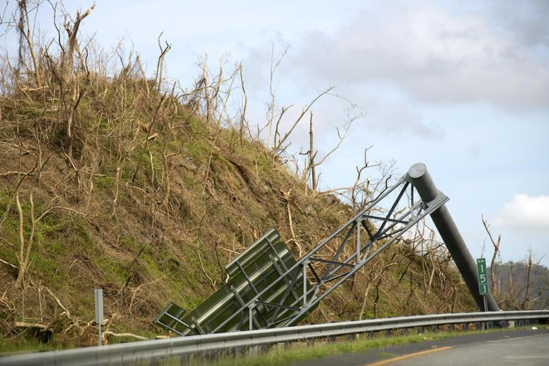 fallen highway sign