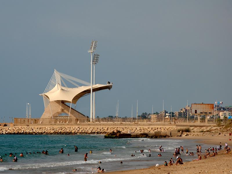 Saida International stadium with beach in the foreground