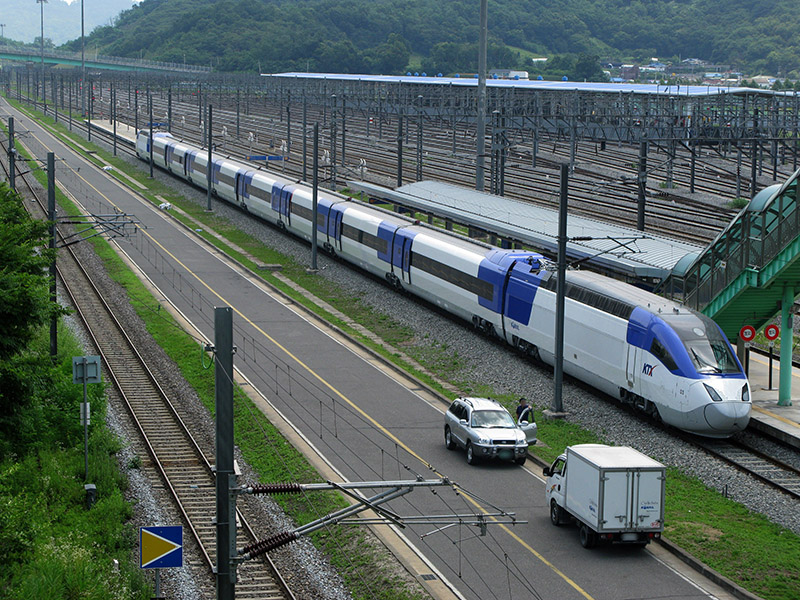 high speed train stopped at station