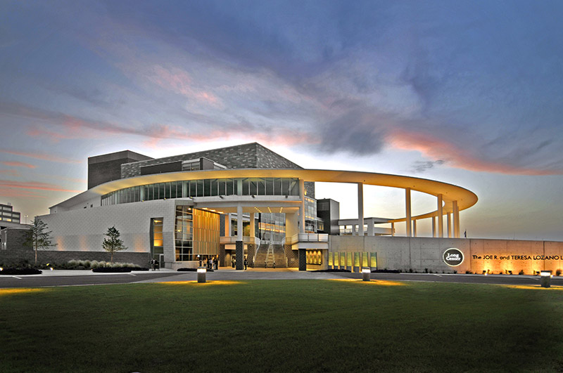 exterior view of the Long Center at dusk
