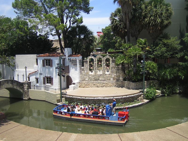 aerial view of San Antonio river walk with a boat