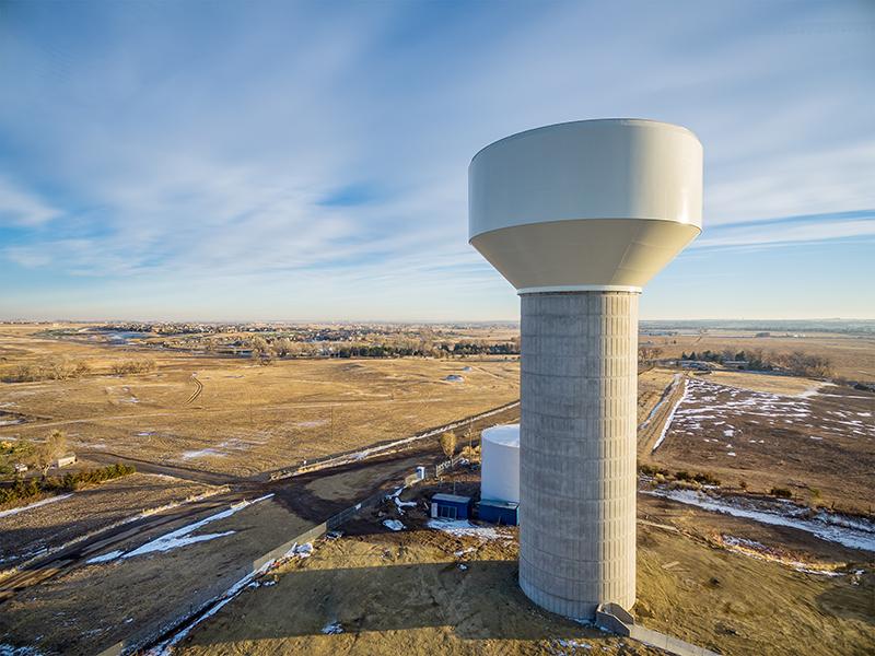 water tank in desert landscape