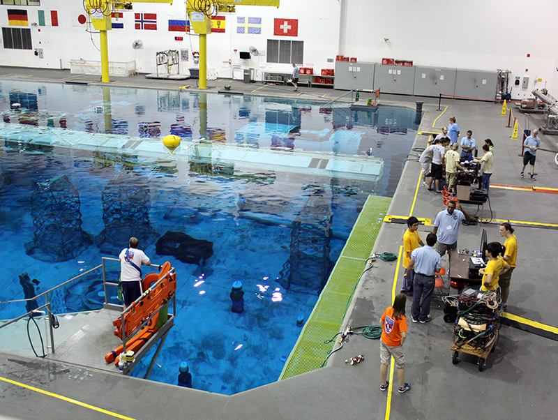 swimming pool set up for astronaut training