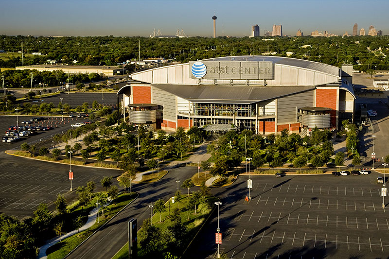 aerial view of the AT&T Center in San Antonio