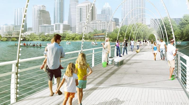 pedestrian bridge over water