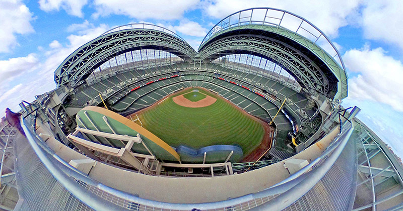 aerial view of Miller Park roof