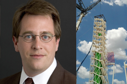 headshot of Mark Waggoner next to photo of construction of tall structure